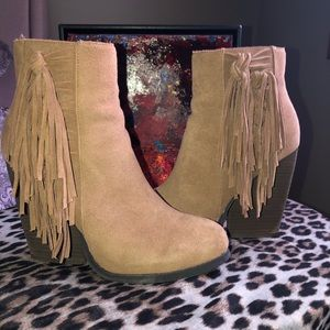 Suede Booties with fringe detail - Very Volatile